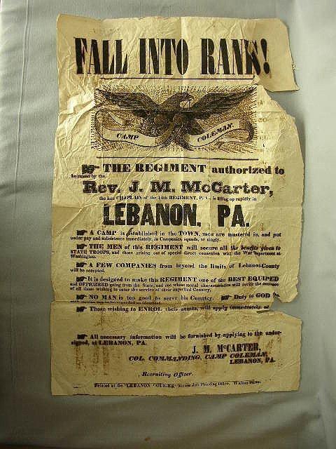 23: 19th C Rare Militia Broadside Camp Coleman Lebanon