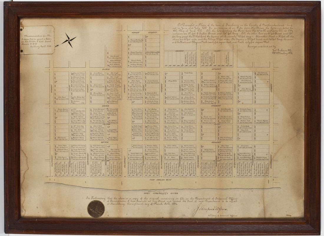 158: 1884 Copy Plan of Sunbury, Pennsylvania