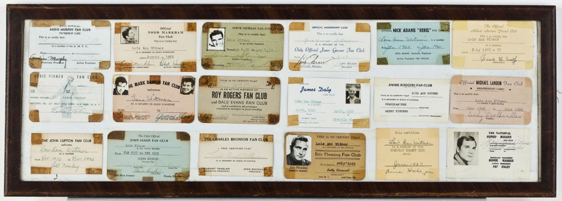 14: 18 1950's-60's Fan Club Cards Incl Signed