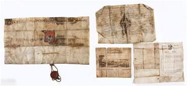 19th C German Illuminated Document & Others