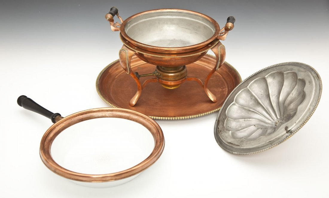 118: S. Sternau & Co. Copper Chafing Dish and Tray - 2