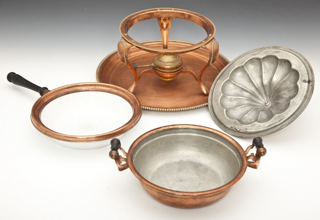 118: S. Sternau & Co. Copper Chafing Dish and Tray - 3