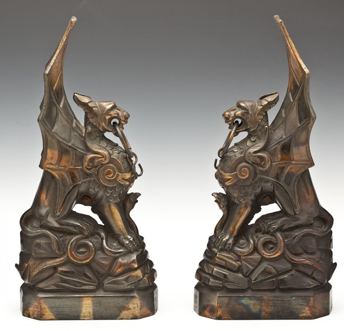 138: Pair of 19th C Bronze Patinated Griffins