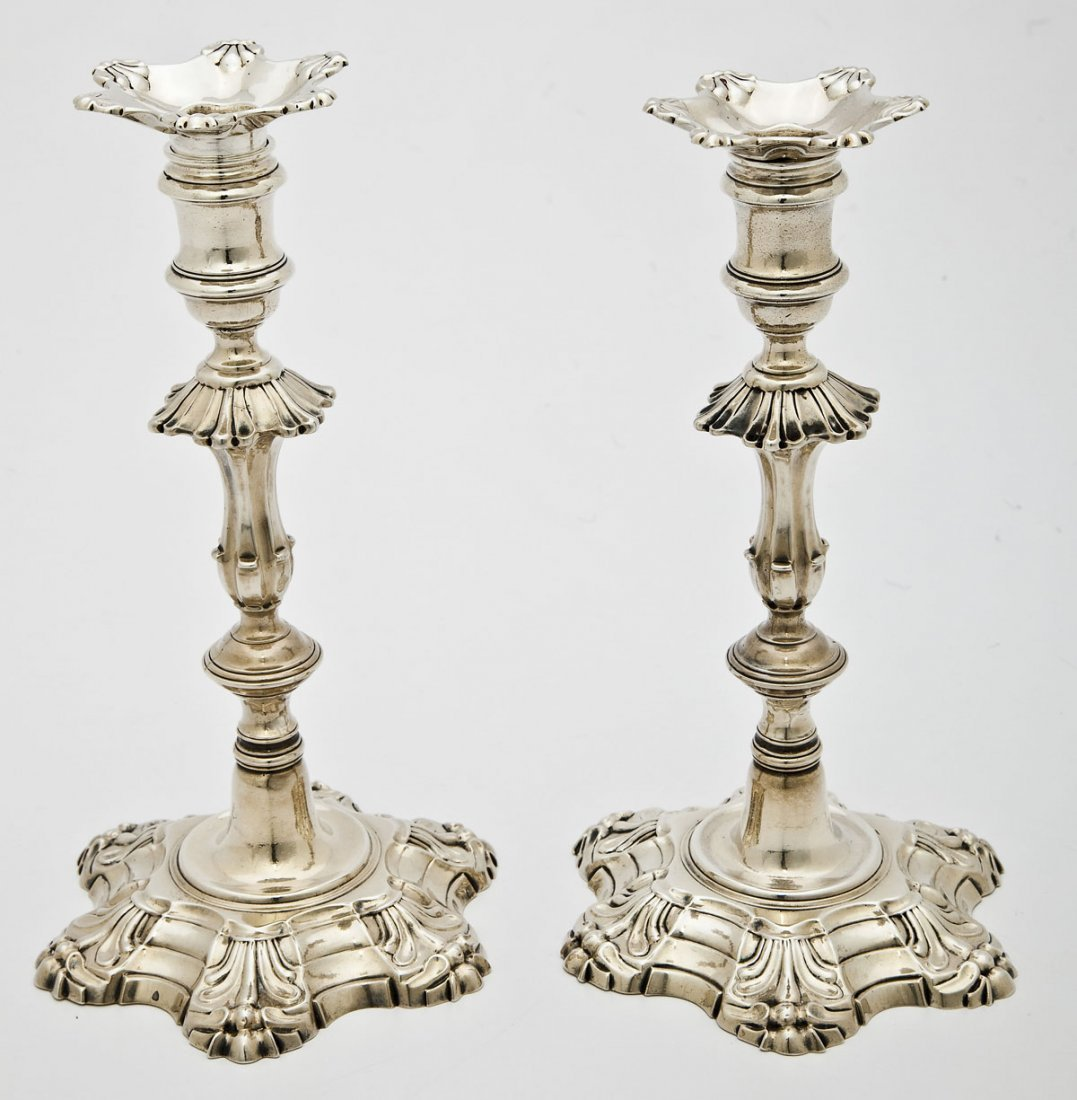 204: Pair of Georgian John Priest Sterling Candlesticks