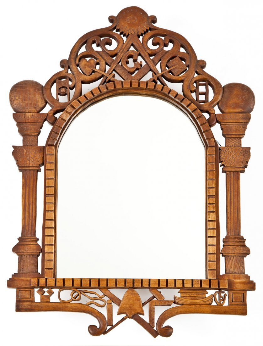 452: Carved Wood Masonic Mirror
