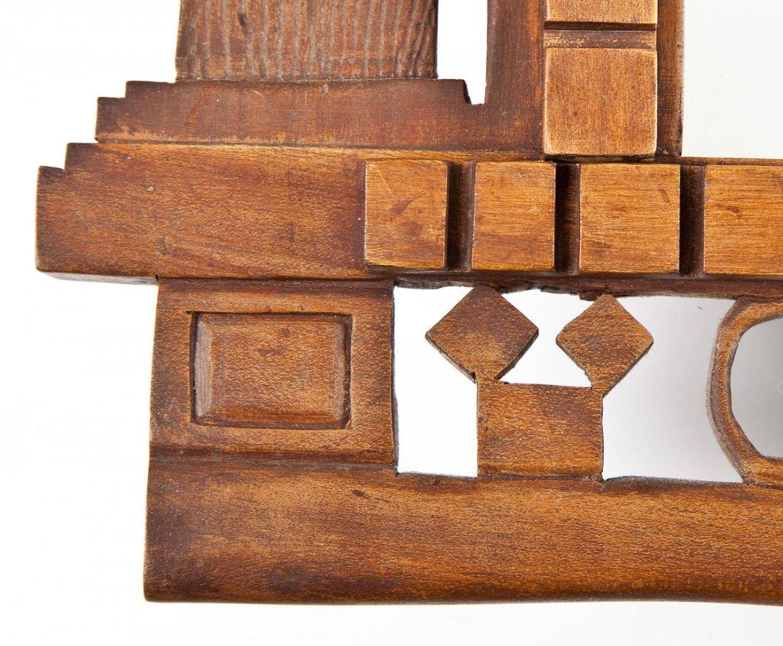 452: Carved Wood Masonic Mirror - 2