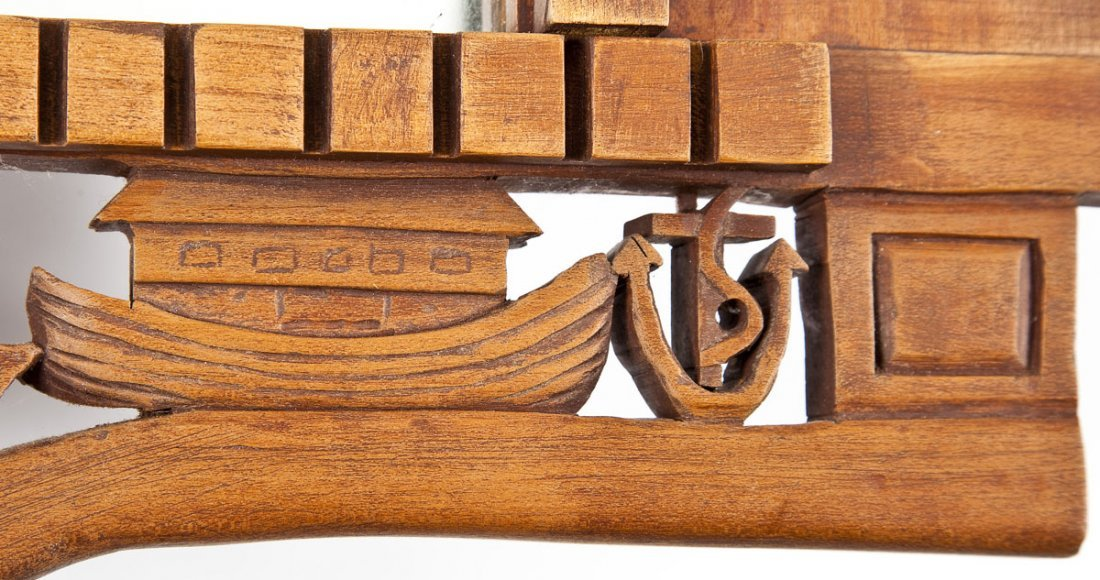 452: Carved Wood Masonic Mirror - 3