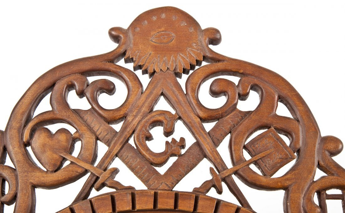 452: Carved Wood Masonic Mirror - 4