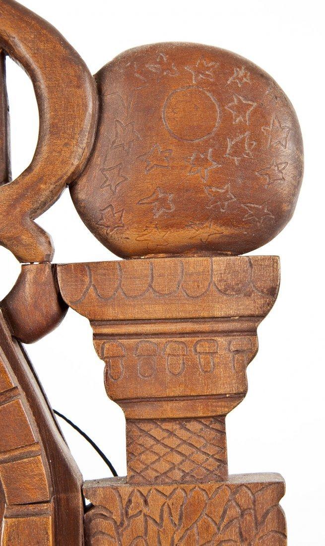 452: Carved Wood Masonic Mirror - 5