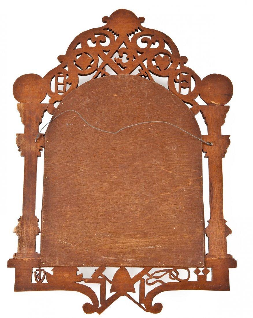 452: Carved Wood Masonic Mirror - 6