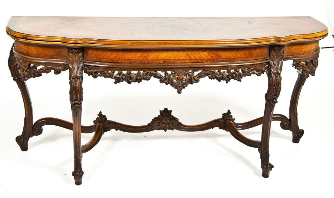 468: Inlaid Fold Top Console Table