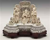 687: Large Chinese Carved Ivory Figural Group