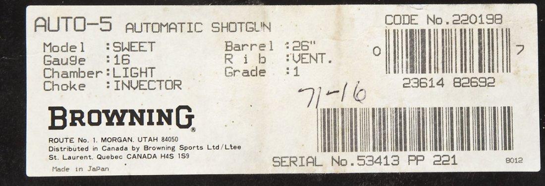 224: Browning Grade I Auto-5 Sweet 16 Shotgun - 12 Ga. - 6