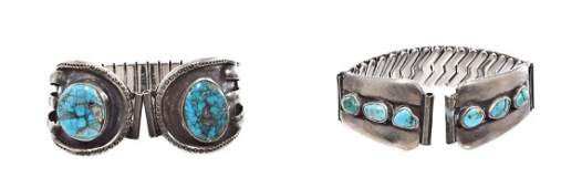 190: 2 Men's Navajo Silver & Turquoise Watch Bands