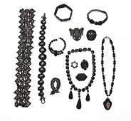 289 Group of 13 Pcs Mourning Jewelry