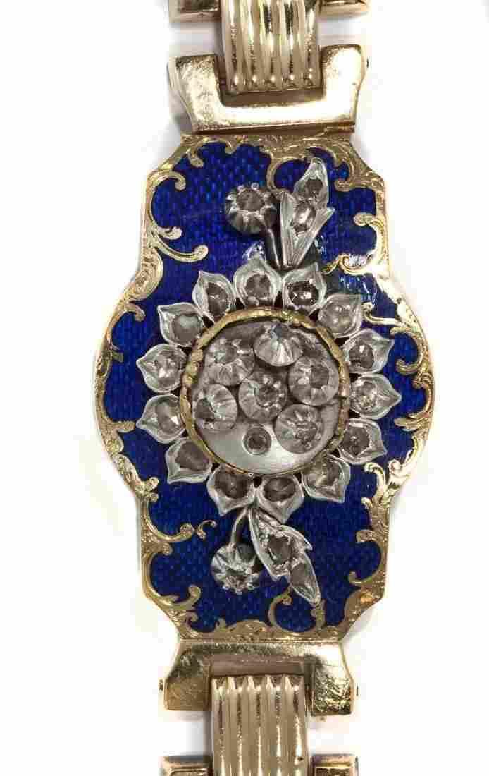 Antique French 18K Diamond and Enameled Bracelet