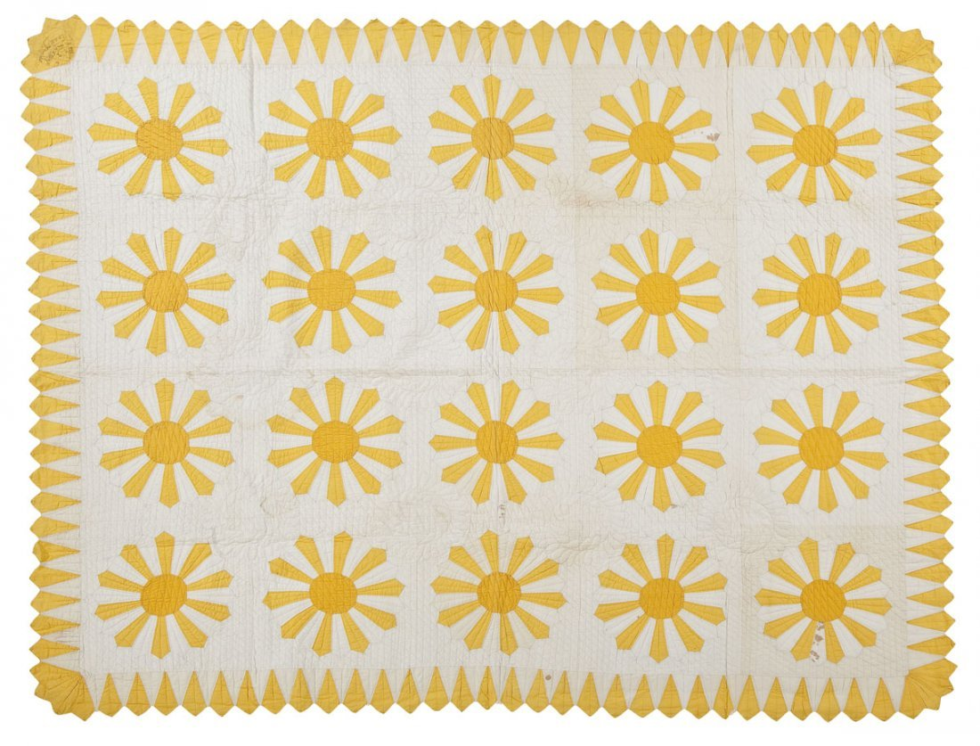 Signed & Dated 1932 Sunburst Applique Quilt