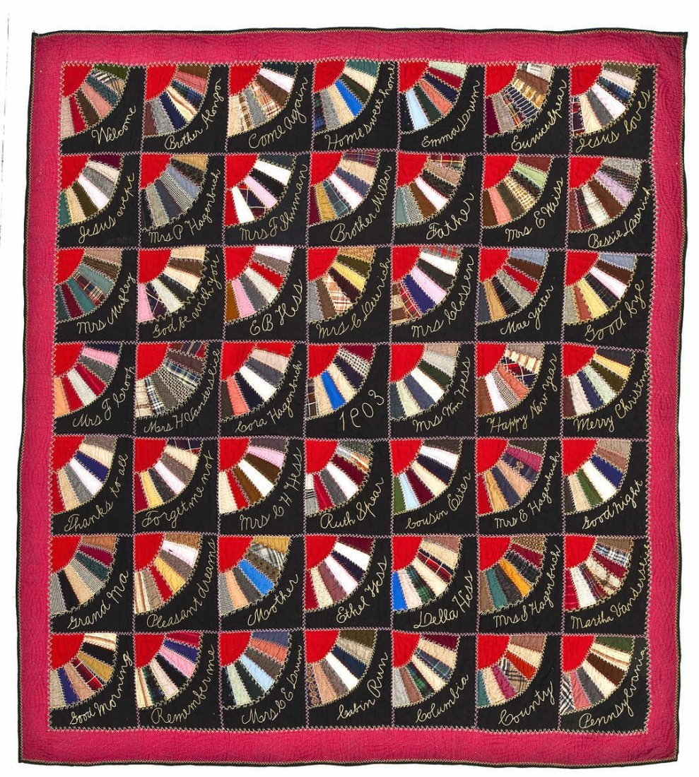 1903 Signed Columbia County PA Fan Quilt