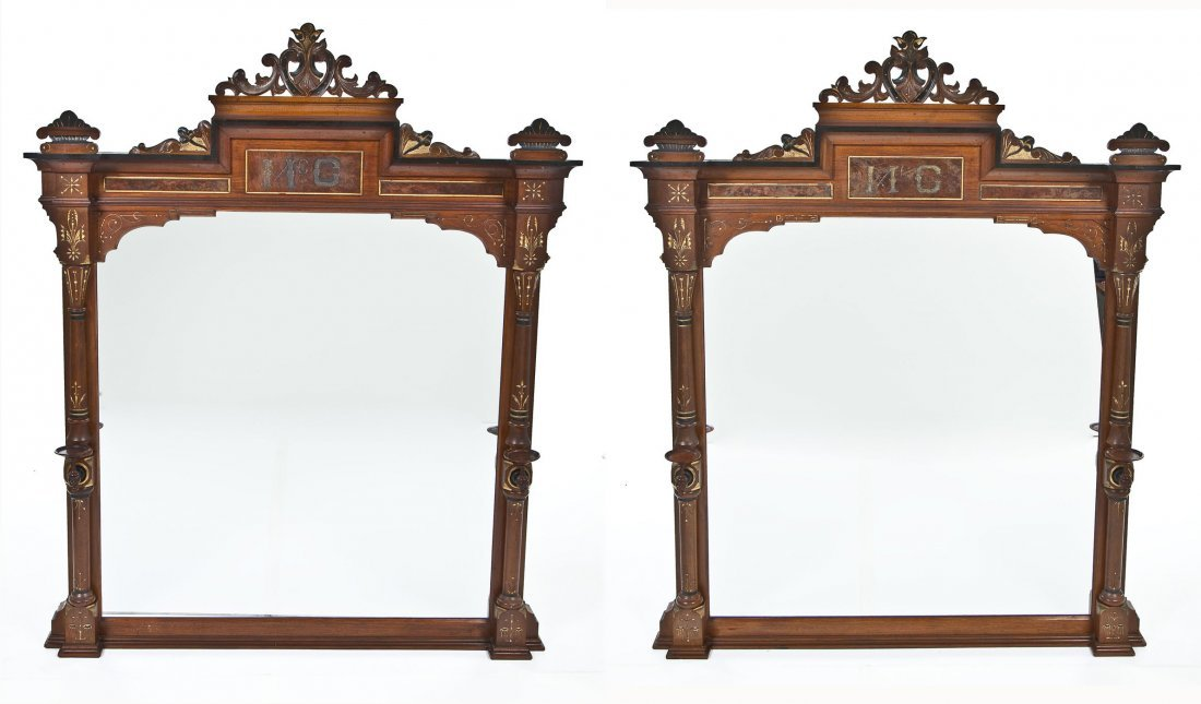Pair Victorian Over Mantle Mirrors