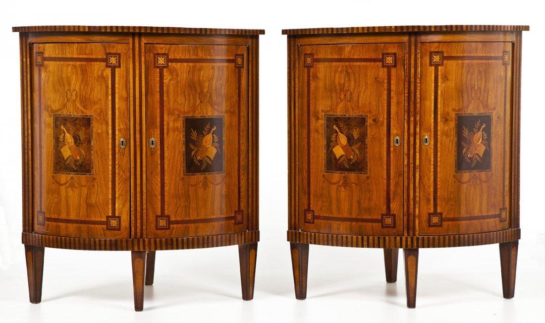Pair of Italian Inlaid Corner Cabinets