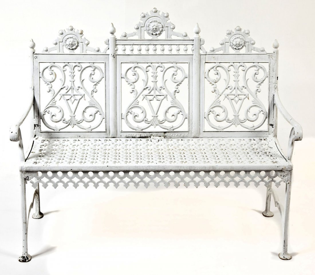 Victorian Peter Timmes Cast Iron Patio Bench