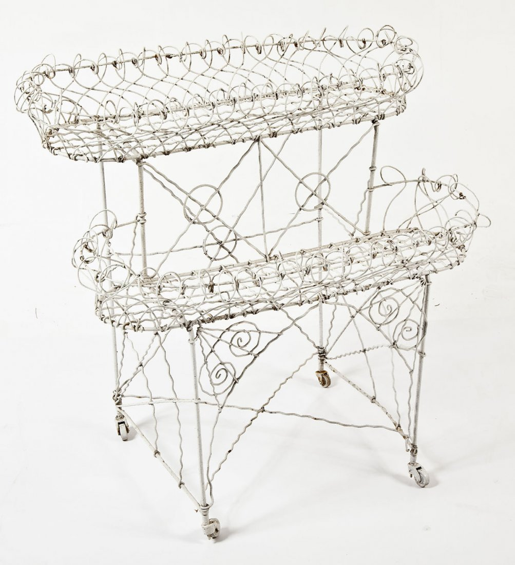 French White Painted Wire Two-Tiered Plant Stand
