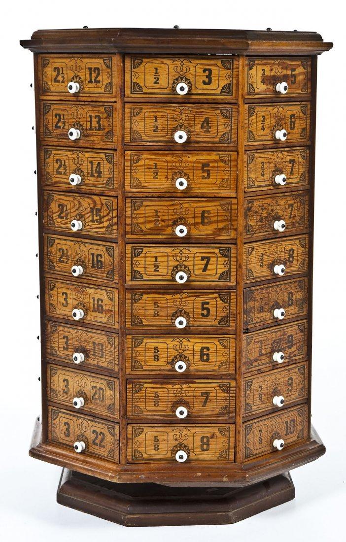 Antique Octagonal Revolving Hardware Cabinet - Octagonal Revolving Hardware Cabinet
