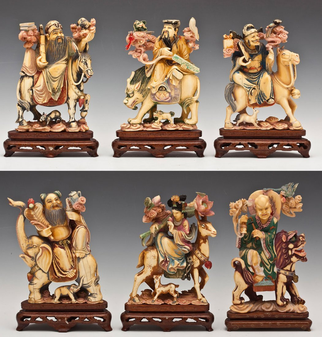6 Chinese Carved & Polychrome Ivory Immortals