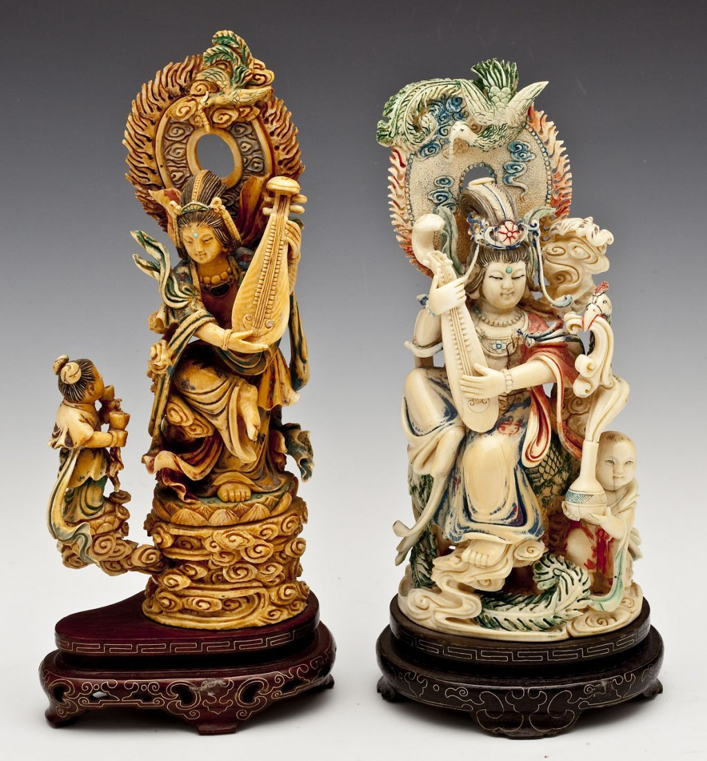 2 Chinese Polychrome Ivory Figurines of Guanyin