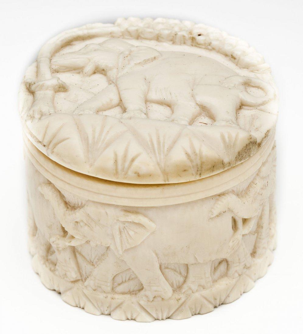 Carved Ivory Trinket Box with Elephants - 2