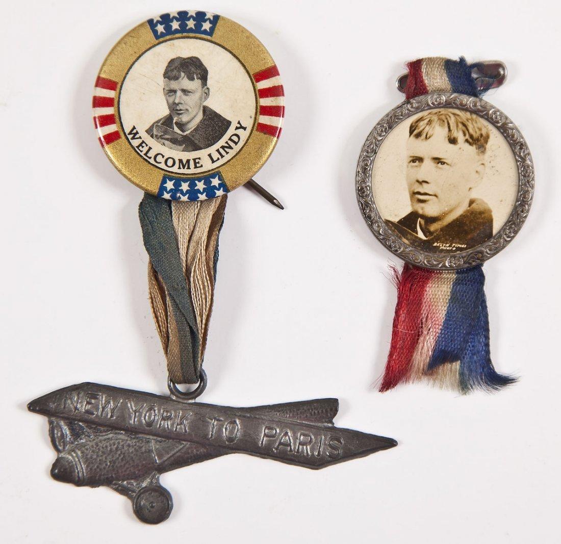 2 Charles Lindbergh Pinback Buttons