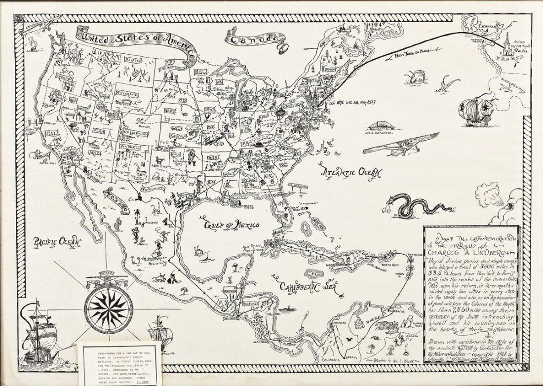 Orig. 1928 Pen & Ink Map of Lindbergh's Exploits
