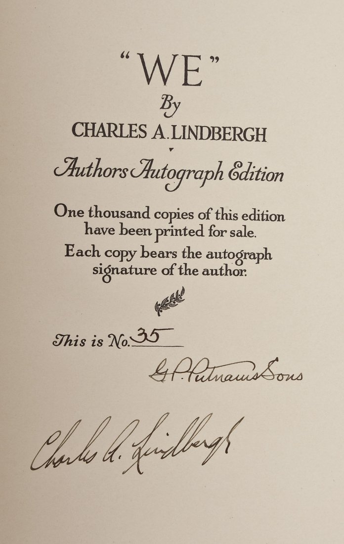 Charles Lindbergh's WE Authors Autograph Edition