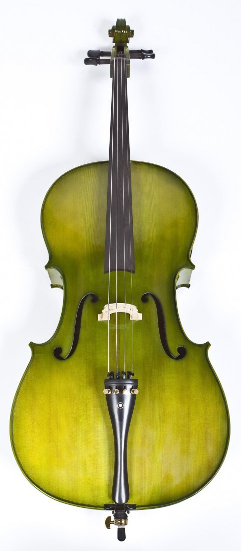 Green Stained Cello with Black Case