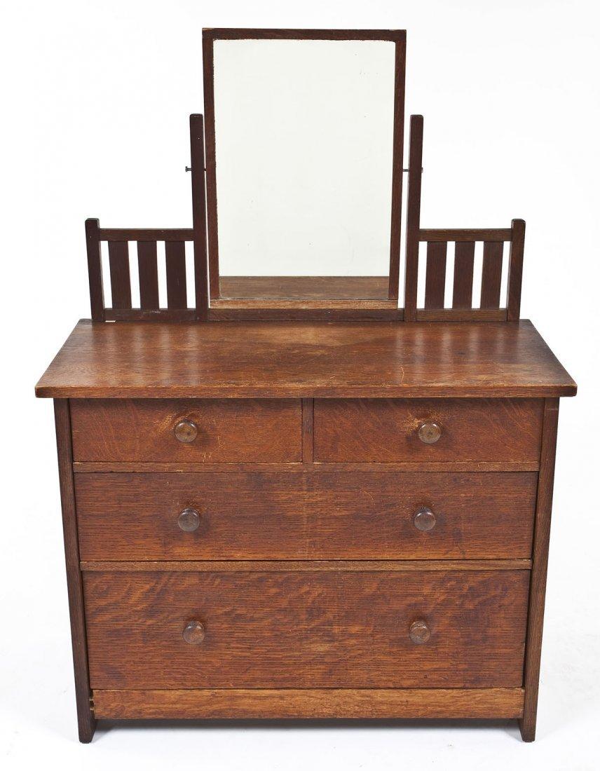 Signed Gustav Stickley Child's Bureau with Mirror
