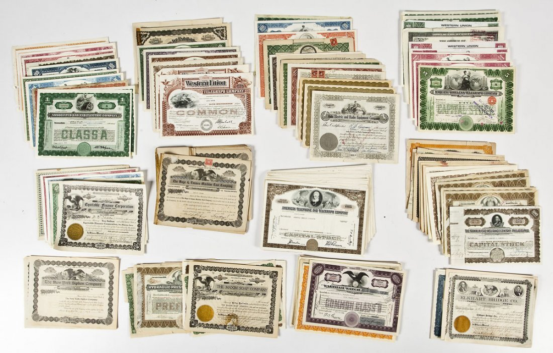 Lot of 19th/20th C Graphic Stock Certificates