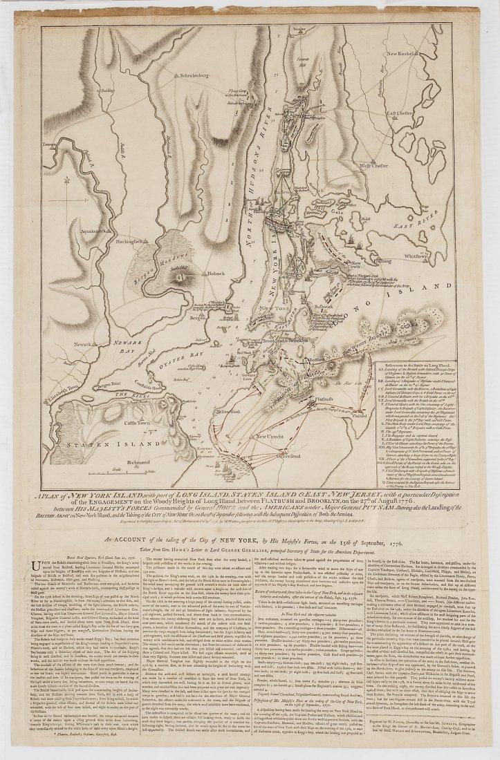 1776 William Faden Plan of New York Island Map