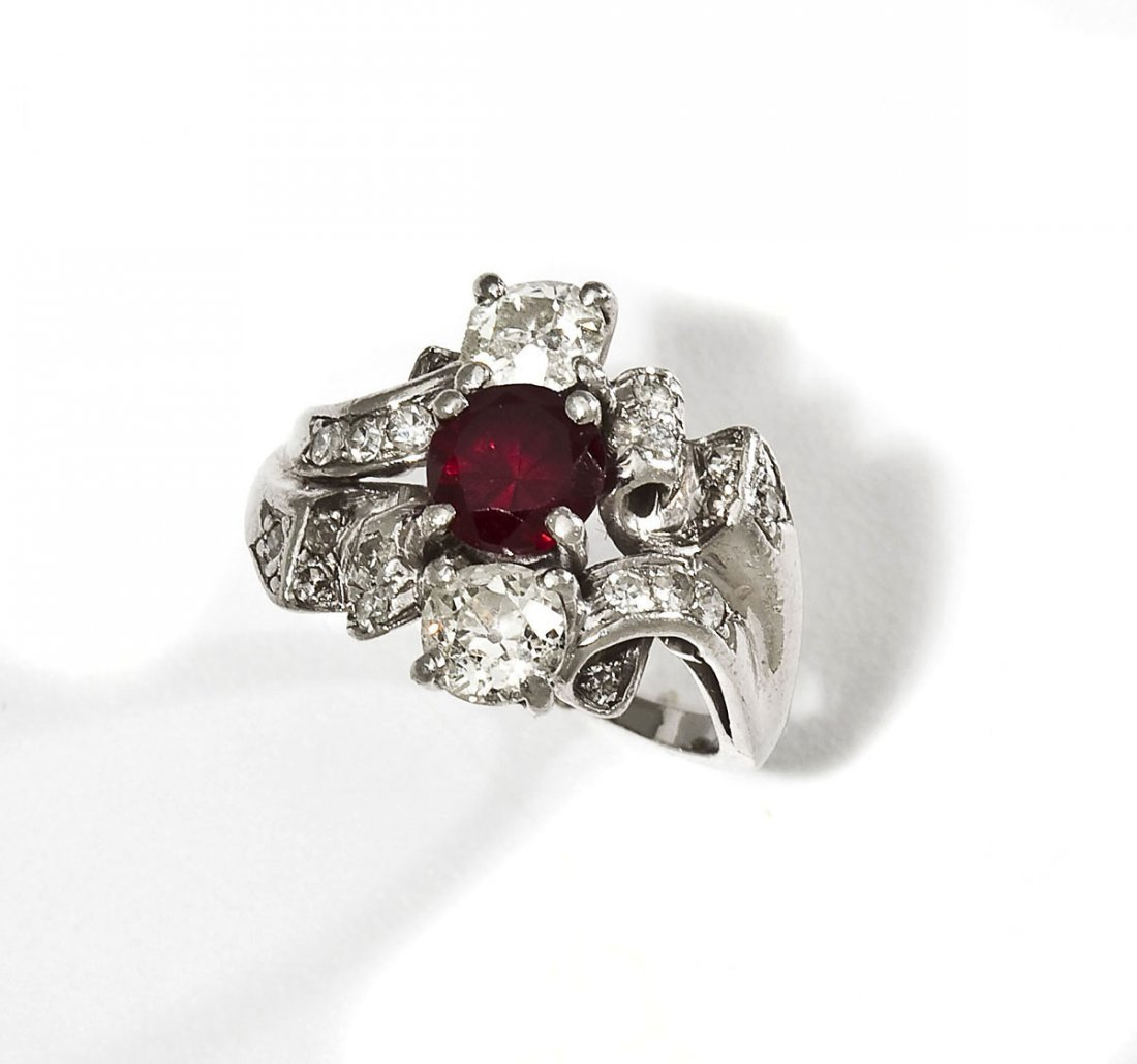 Ruby, Diamond & Platinum Ring