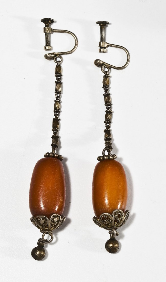 Vintage Amber Drop Earrings