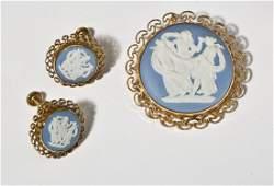 Van Dell Wedgwood Earrings & Pin Set