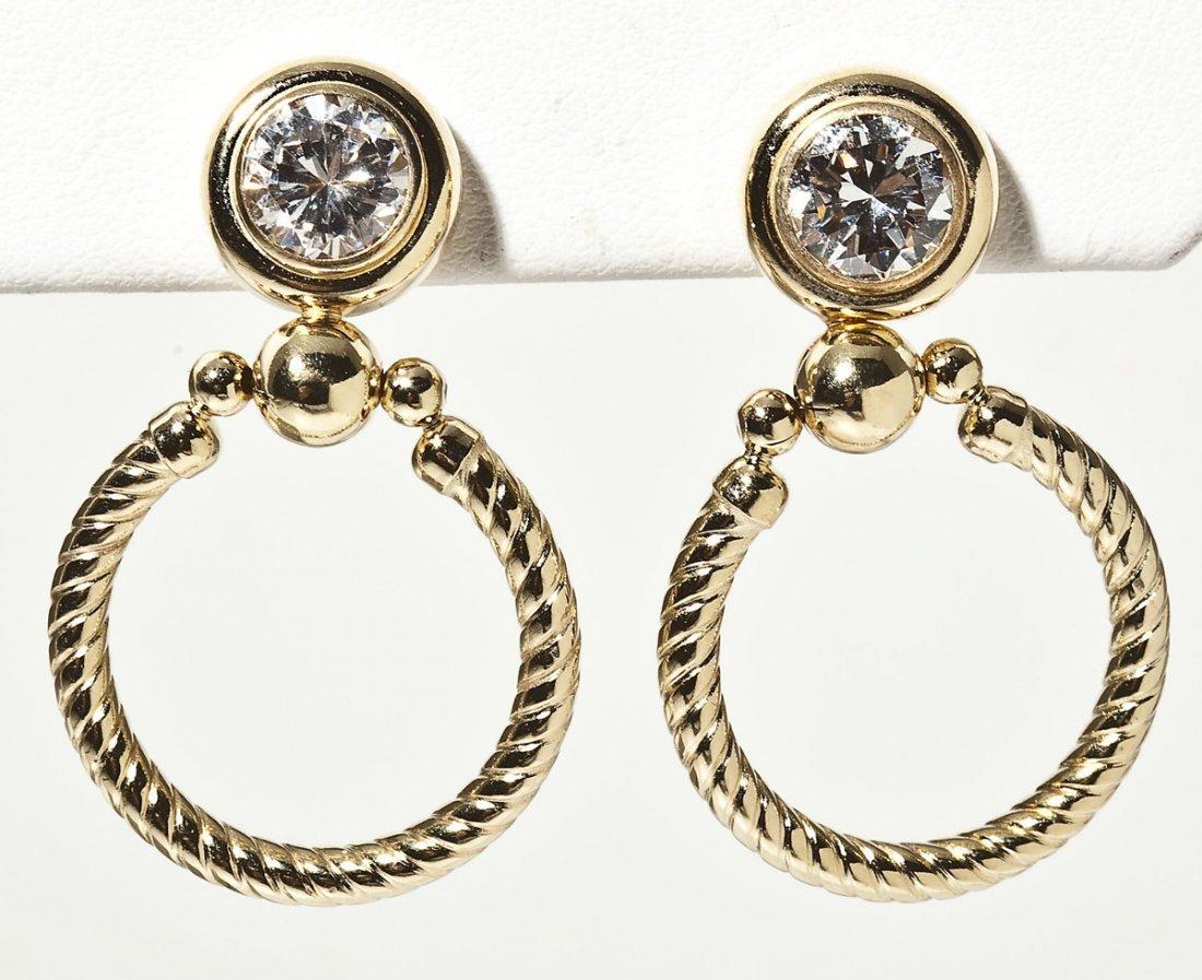 14K & CZ Doorknocker Earrings