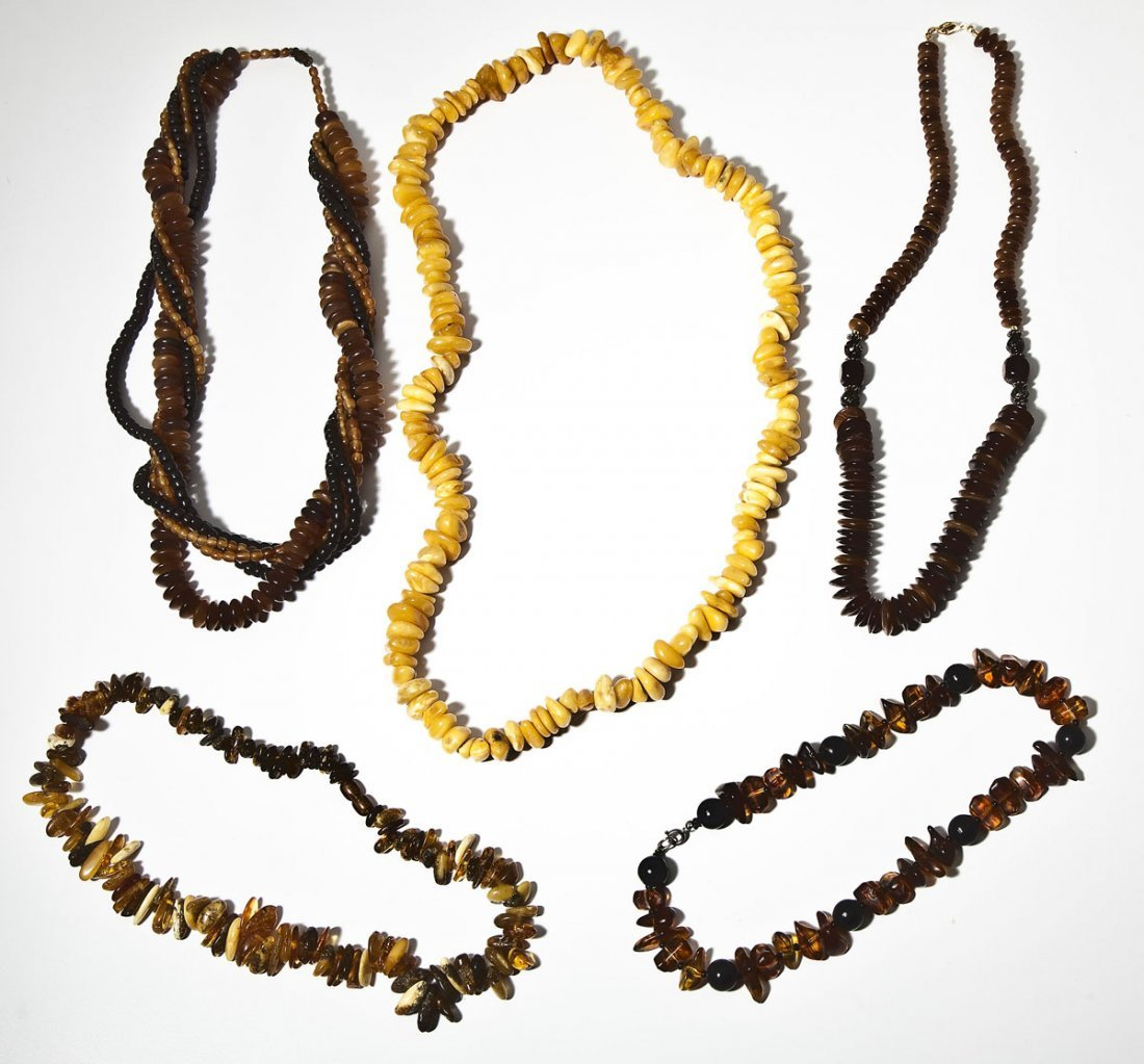 5 Amber Bead Necklaces