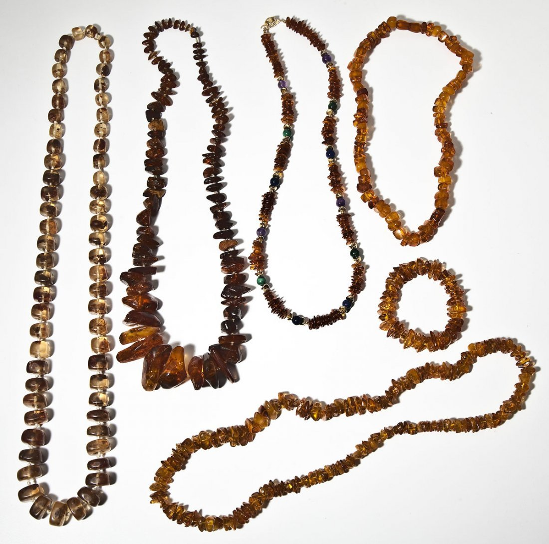 6 Pieces of Amber Bead Jewelry