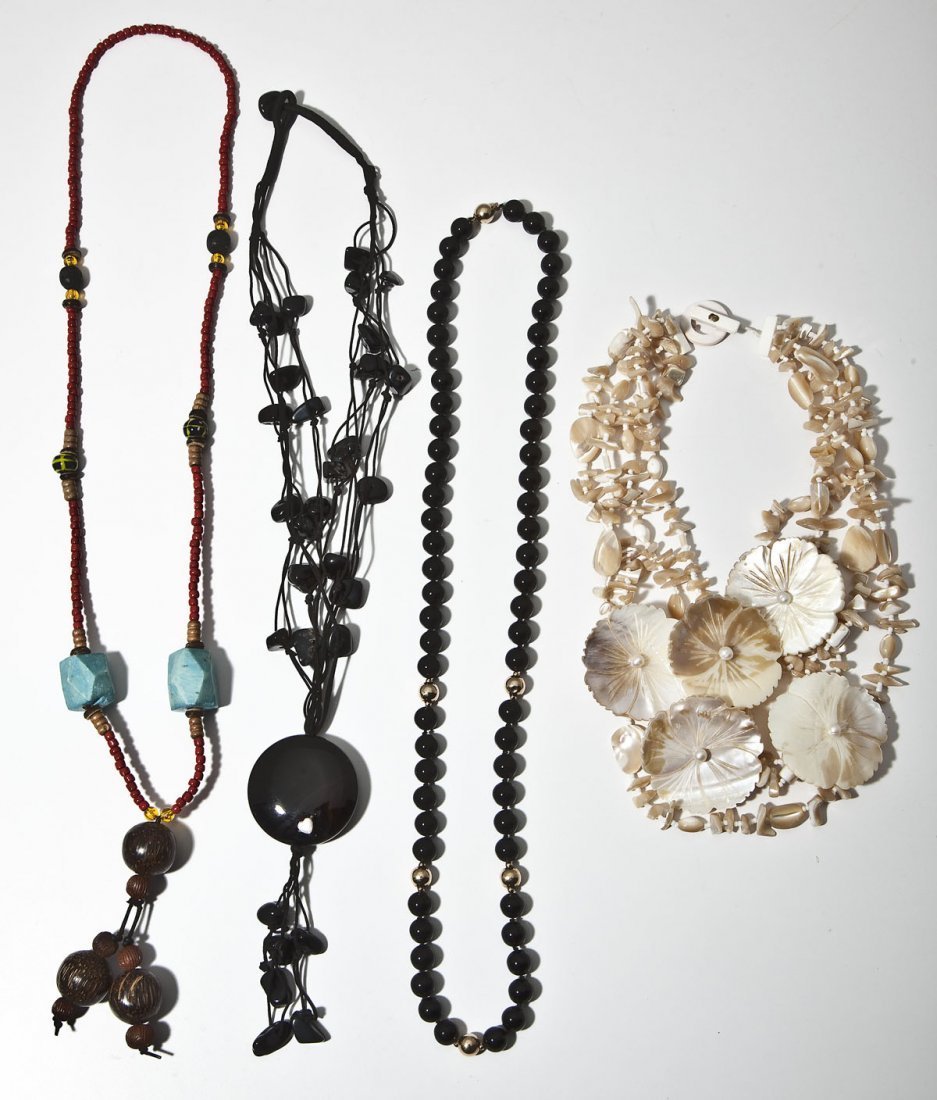 4 Stone and Shell Necklaces