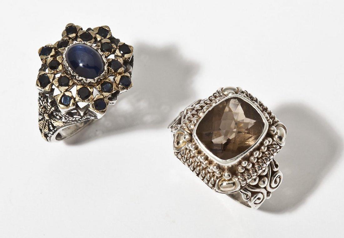 2 Sterling & 18K Gold Rings