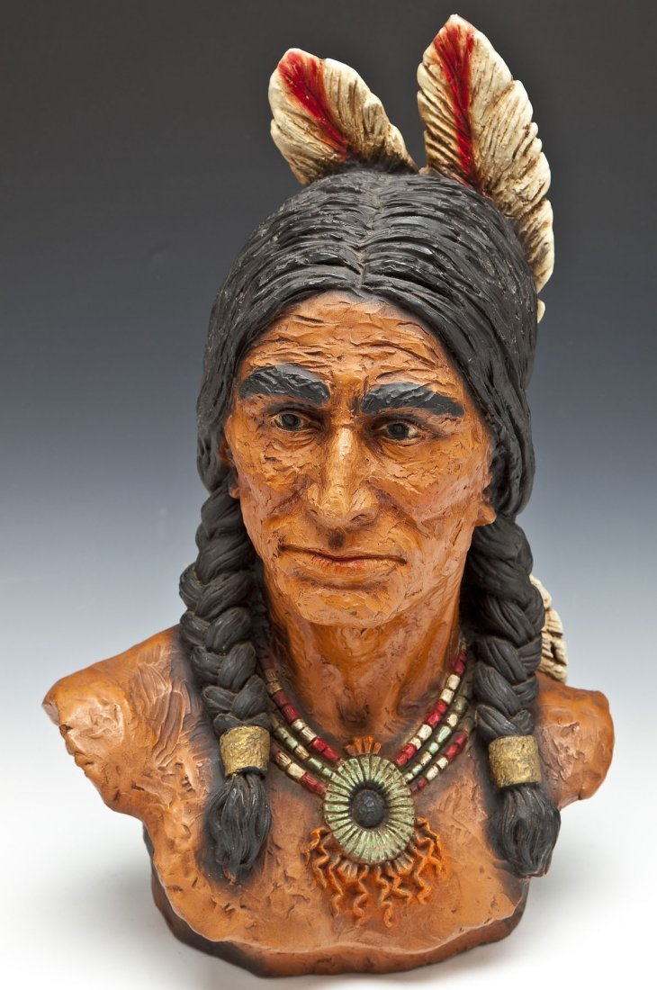 Indian Chief Sculpture by V. Kendrick