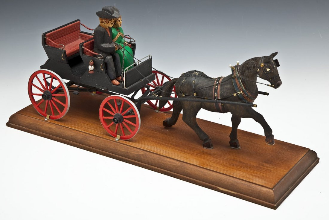 Cleber Rouse Carved Horse Drawn Wagon