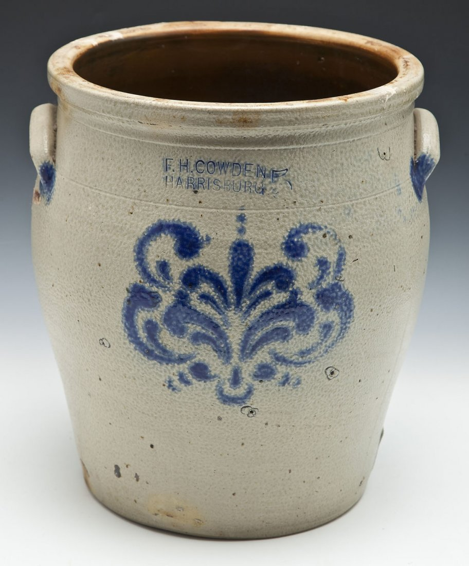 F.H. Cowden 4 Gallon Cobalt Decorated Crock