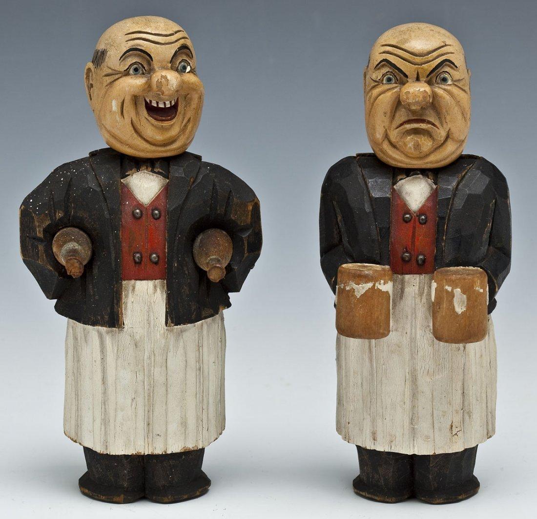 Pair German Carved Wood Bar Utensils