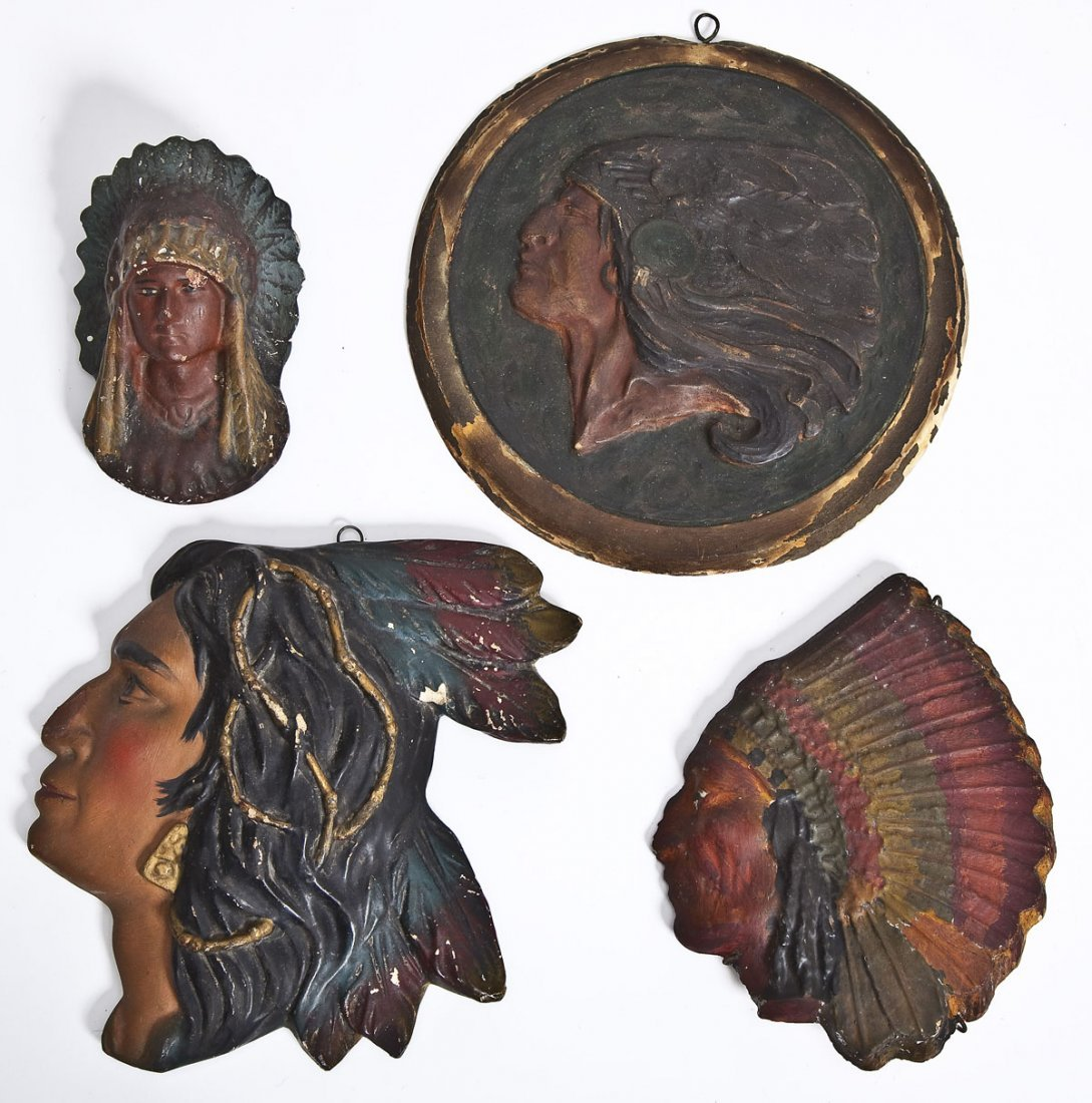 4 Painted Chalk Indian Plaques